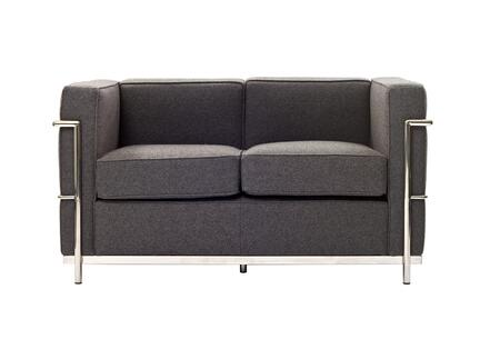 Modway EEI697LGR Le Corbusier LC2 Series Fabric Stationary with Metal Frame Loveseat