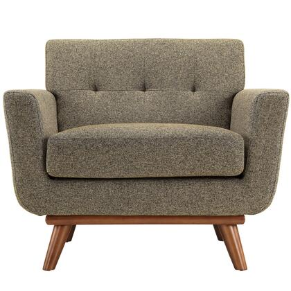 Modway EEI1178OAT Engage Series Fabric Armchair with Wood Frame in Oatmeal