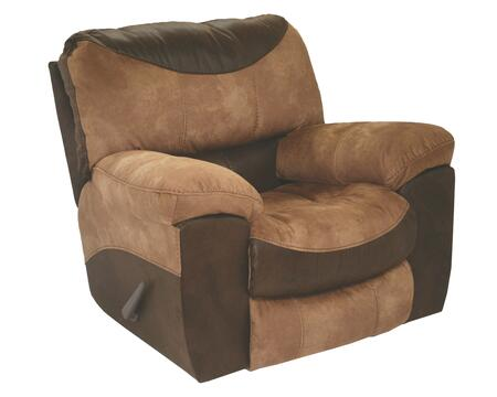 "Catnapper Portman Collection 1960-2- 44"" Chaise Rocker Recliner with Faux Leather Upholstery, Patchwork Design and Luggage Stitching in Saddle and Chocolate"
