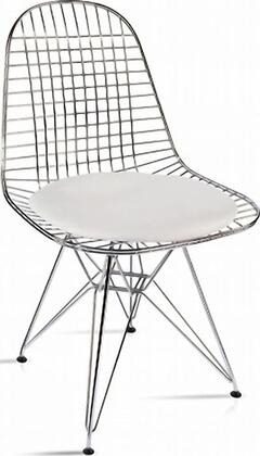 Fine Mod Imports FMI10036WHITE Eiffel Series Modern Faux Leather Metal Frame Dining Room Chair
