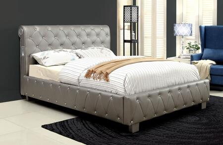 Furniture of America CM7056SVEKBED Julliard Series  King Size Panel Bed