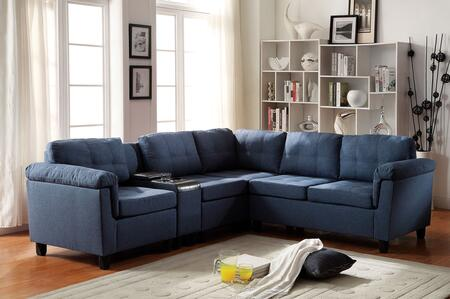 Acme Furniture 515SS Cleavon Reversible Sectional Sofa with 2 Chairs, Cup Holder Console, Wedge, Loveseat, Espresso PU Leather and Fabric Upholstery in