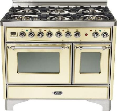 "Ilve UMD-1006-DMP 40"" Majestic Series Dual Fuel Range with 6 Sealed Burners, 3.88 cu. ft. Total Oven Capacity, 8 Oven Functions, Continuous Cast Iron Grates, Digital Clock and Timer, and Chrome Trim: X"