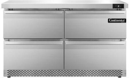 """Continental Refrigerator SWF48F 48"""" Worktop Freezer with 13.4 Cu. Ft. Capacity, Front Breathing Compressor, Aluminum Interior, Interior Hanging Thermometer, and Environmentally-Safe Refrigerant, in Stainless Steel"""