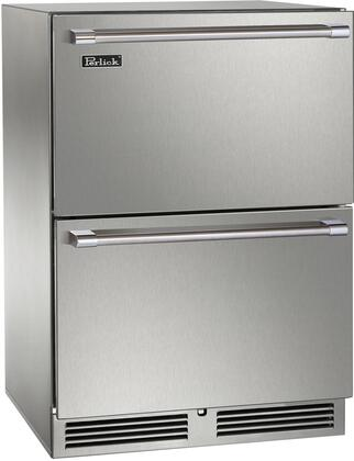 """Perlick HP24ZS3x 24"""" Signature Series Indoor Dual Zone Refrigerator/Freezer Drawers with 5 cu. ft. Capacity, RAPIDcool Forced-air System, and Stainless Steel Construction, in"""