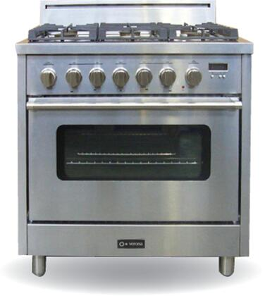 Verona VEFSGGL65SS Pro Series Gas Freestanding Range with Sealed Burner Cooktop, 3.6 cu. ft. Primary Oven Capacity, in Stainless Steel