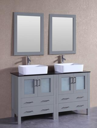 "Bosconi AGR230RCBGX XX"" Double Vanity with Black Tempered Glass Top, Rectangle White Ceramic Vessel Sink, F-S02 Faucet, Mirror, 4 Doors and X Drawers in Grey"