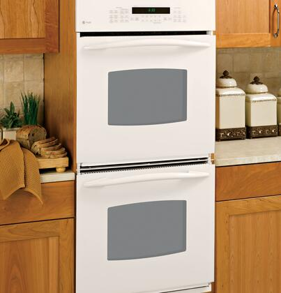 "GE Profile Series PK956DR 27"" Double Electric Wall Oven with 3.8 cu. ft Ovens, PreciseAir Convection Upper Oven, Self-Clean, Hidden Bake Interior and Glass Touch Controls"