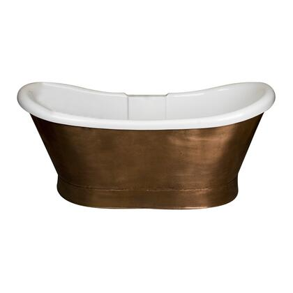 "Barclay ATDS69CS Cathay 69"" Copper-Wrapped Acrylic Double Slipper Tub, White Interior with Copper Skirt Exterior, Overflow,"