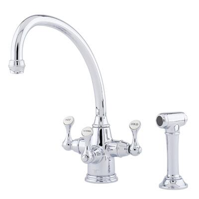 "Rohl U.1520LS--2 Perrin and Rowe Collection Triflow Technology Filtration Traditional Etruscan 3-Lever Kitchen Faucet with ""Broken Neck"" Spout and Sidespray:"