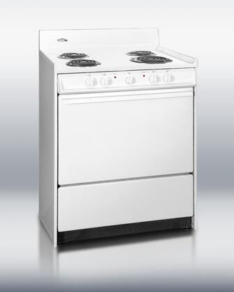 "Summit WEM210 30""  White Electric Freestanding Range with Coil Element Cooktop, 3.7 cu. ft. Primary Oven Capacity, Storage"