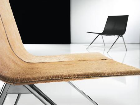 Modloft PTN094ASCA Mayfair Series Animal Hide Lounge with Metal Frame in Beige