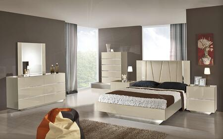 VIG Furniture VGACCLUXORBGE Luxor 5 PC Lacquer Italian Bedroom Set with Silver Accents, Leatherette Headboard and Glossy Finish in Beige