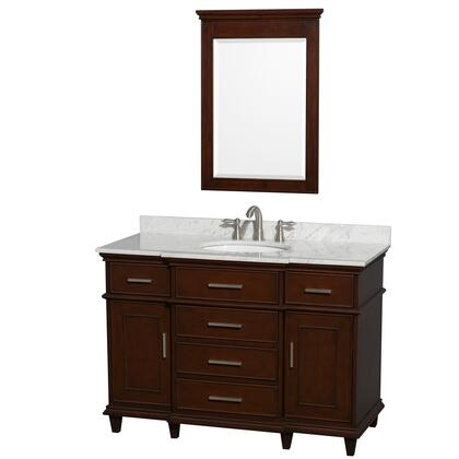 "Wyndham Collection WCV171748S Berkeley 48"" Single Sink Vanity with White Porcelain Oval Undermount Sink, 2 Doors, 5 Drawers, Marble Top, in"