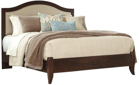 Signature Design by Ashley Corraya B428 Size Panel Bed with Fabric Upholstered Headboard, Arching Rails, Adjustable Headboard Height and Replicated Cherry Grain in Medium Brown Finish