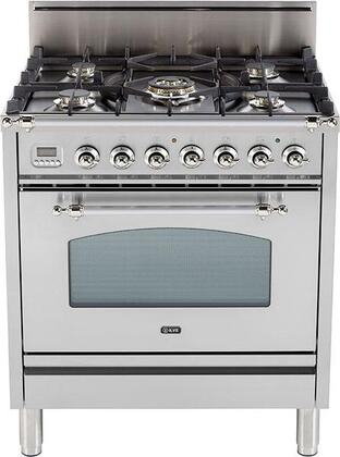 "Ilve UPN76DVGGX 30"" Nostalgie Series Freestanding Gas Range with 5 Burners, 3 cu. ft. Oven Capacity, Digital Clock and Timer, Full Width Warming Drawer, 2 Oven Racks, and Chrome Trim"