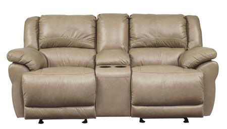 """Signature Design by Ashley Lenoris U9890X43 79"""" Glider Reclining Leather Loveseat with Storage Console, Cup Holders and Pillow Top Arms in"""
