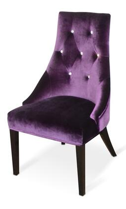 VIG Furniture VGUNAA03 A&X Charlotte Dining Chair with Crystal Back Tufts, Flared Tapered Legs and Velour Fabric Upholstery in