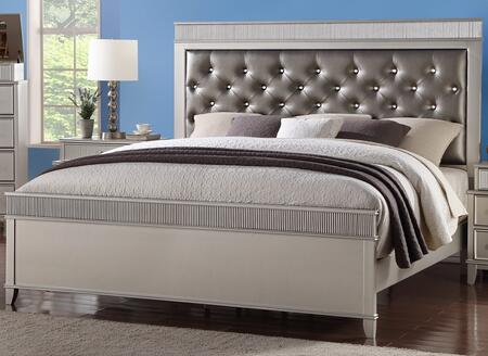 Cosmos Furniture Geneva Collection GENEVA XBED Size Bed with Upholstered Headboard, Button Tufting, Tapered Legs and Sturdy Wood Construction in Silver