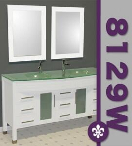 """Cambridge 8129WX 63"""" White Wood & Glass Double Sink Vanity Set with Faucets"""