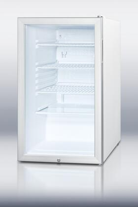 """Summit SCR450L 20"""" Compact Refrigerator With 4.1 cu. ft. Capacity, Glass Door, Factory Installed Lock, Automatic Defrost, Adjustable Shelves, Interior Light and 100% CFC Free in Stainless Steel"""