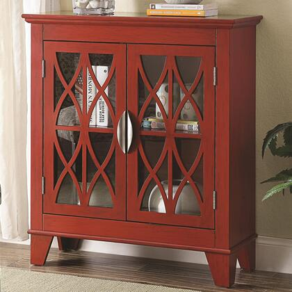 """Coaster Accent Cabinets 95031 32"""" Accent Cabinet with 2 Glass Doors, Lattice Front Design, Metal Hardware and Tapered Legs in"""