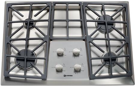 """Verona VECTGV3XXSS XX"""" Gas X Burner Cooktop with Stainless Steel Knobs, Permanently Sealed Burners, Electronic Ignition/Re-Ignition, Continuous Grates, Cast Iron Grates and Caps in Stainless Steel"""