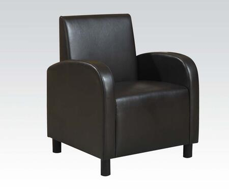 "Acme Furniture Maxie Collection 28"" Accent Chair with Solid Wood Frame, Curved Arms and PU Leather Upholstery in"