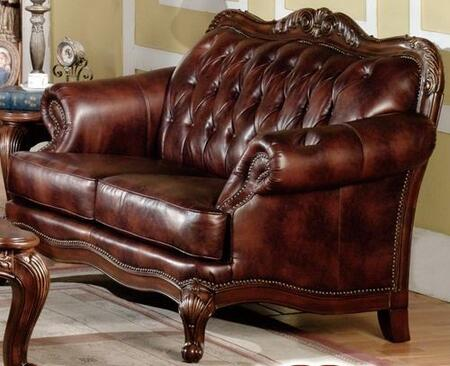 Meridian 665L Bonded Leather Stationary with Wood Frame Loveseat