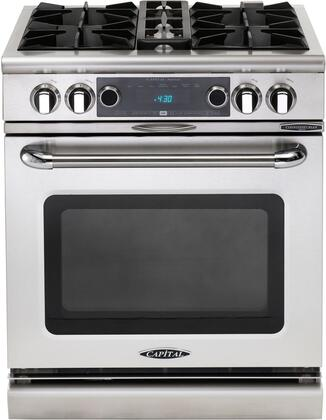 """Capital COB304N 30"""" Connoisseurian Series Dual Fuel Freestanding Range with Open Burner Cooktop, 5 cu. ft. Primary Oven Capacity, in Stainless Steel"""
