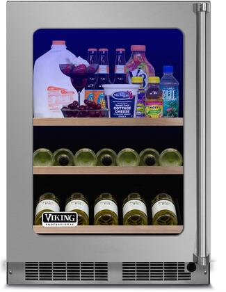 "Viking VBUI5240G 24"" Energy Star Professional 5 Series Rated Undercounter Beverage Center with 5.5 cu. ft. Capacity, 3-in-1 Slide-Out Convertible Shelf, Dual Pane Glass Door, UV Protection, Dynamic Cooling System, and Electronic Digital Controls: Stainless"