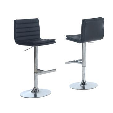 Monarch I 235X Set of Two Adjustable Bar Stools, with Padding, Hydraulic Lift System, and Chrome Finished Metal Frame, in Faux Leather White