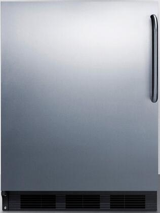 "Summit FF6B7S 24"" FF67 Series Energy Star, Commercial, Medical Compact Refrigerator with 5.5 cu. ft. Capacity, Glass Shelves, Crisper and Left Hinge: Stainless Steel with Pro Towel Bar Handle"