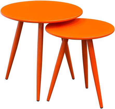 """Diamond Duo DUOET 20"""" x 16"""" 2 PC Nesting Tables with 18mm Medium-Density Fiberboard (MDF) Top, Powder Coated Metal Legs and High Gloss Finish in"""