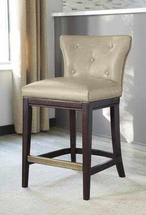 """Signature Design by Ashley Canidelli 40.75"""" Bar Stool with Button Tufted Back, Metal Capped Footrest, Dark Brown Cherry Solid Wood Frame, Nail Head Trim and Faux Leather Upholstery in Color"""