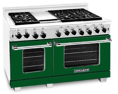 "American Range ARR4842GRFG 48"" Heritage Classic Series Gas Freestanding Range with Sealed Burner Cooktop, 4.8 cu. ft. Primary Oven Capacity, in Green"