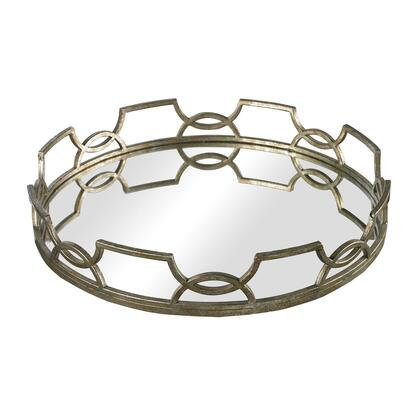 Sterling Hucknall Collection Mirrored Tray with Iron Scroll Metal, Mirror Base and Round Shape in Mccomish Bronze Finish