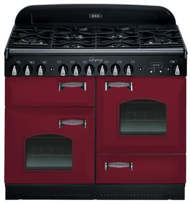 "AGA ALEG44DFCDCRN 44"" Legacy Series Dual Fuel Freestanding Range with Sealed Burner Cooktop, 2.4 cu. ft. Primary Oven Capacity, Storage in Cranberry"