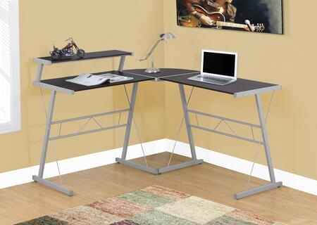 "Monarch I 717X 58"" Computer Desk with Raised Shelf, ""L"" Shaped and Contemporary Design"