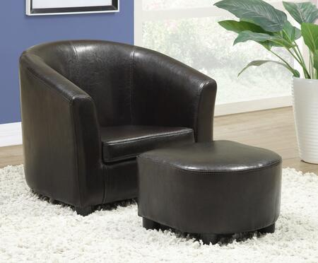 Monarch Juvenile I 810 Faux Leather Youth Armchair and Ottoman with Stitching Details and Wood Frame in