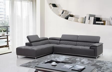 VIG Furniture VGKNK8482ECOGRY Divani Casa Citadel Series Sofa and Chaise Sofa