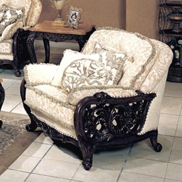Yuan Tai TN3500A Tanner Series Fabric Arm Chair with Wood Frame in Cherry