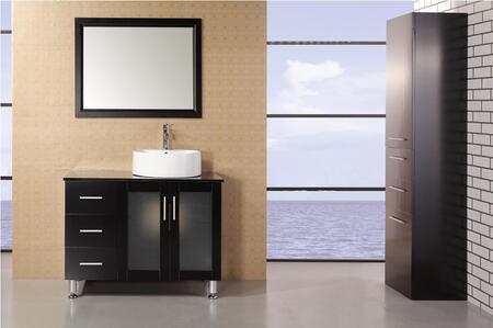 "Design Element DEC066 Malibu 36"" Single Sink Modern Bathroom Vanity With Black Tempered Glass Countertop"