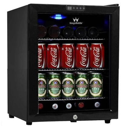 KingsBottle KBU52X 38 Can Compressor Mini Fridge with Built-in Digital Display for Easy Thermostat Monitoring, Interior Blue LED Lighting, Metal Trimmed Glass Door and Adjustable Chrome Shelf in