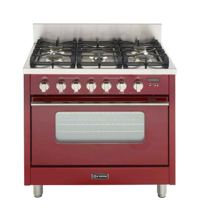 Verona VEFSGGL65RLP Pro Series Gas Freestanding Range with Sealed Burner Cooktop, 3.6 cu. ft. Primary Oven Capacity, in Red