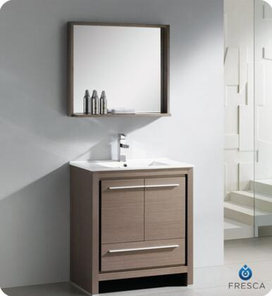 """Fresca Allier Collection FVN8130 30"""" Modern Bathroom Vanity with Mirror, Soft Closing Drawer and Integrated Ceramic Countertop and Sink in"""