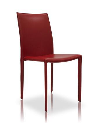 Modloft MD605RED Varick Series Modern Leather Metal Frame Dining Room Chair