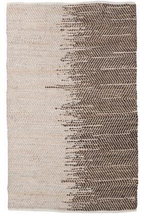 Milo Italia Gary RG422224TM Rug with Ombre Pattern, Hemp with Leather Blend and Hand-Woven in Beige and Brown