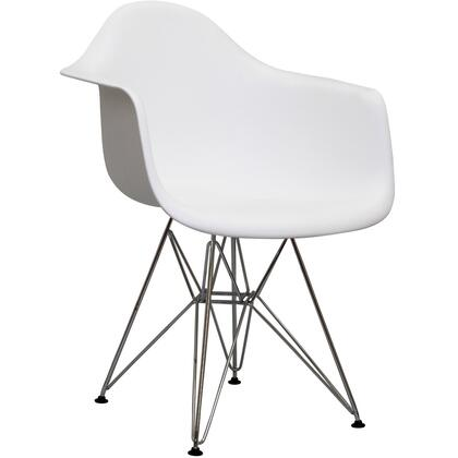 """Modway Paris Collection 24"""" Arm Chair with Chromed Steel Wire Pyramid Base, Plastic Non-Marking Feet and Molded Plastic Seat in"""
