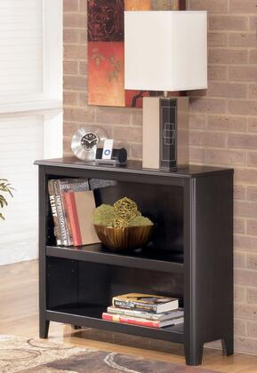Signature Design by Ashley Carlyle H371-1X X Bookcase with Adjustable Shelves, Tapered Legs and Solid Hardwood Construction in Black Finish